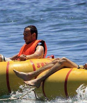 Ringo by boat in albania